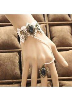 Palace Style Hollow Bracelet with Black Faux Diamond #bracelet