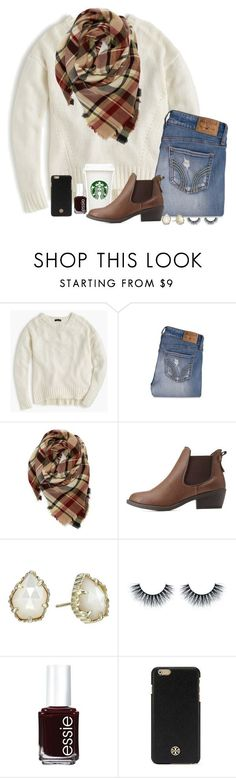 """It's been awhile"" by madelyn-abigail ❤ liked on Polyvore featuring J.Crew, Hollister Co., Evelyn K, Charlotte Russe, Kendra Scott, Essie and Tory Burch"