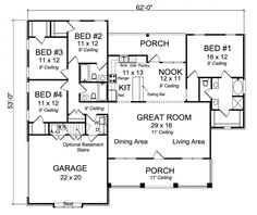#656132 - 4 Bedroom 3 Bath Country Craftsman with split floor plan and large great room : House Plans, Floor Plans, Home Plans, Plan It at HousePlanIt.com