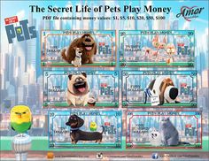 Secret Life of Pets Printable Play Money, Minecraft Blocks, Monopoly Money, Books 2018, Secret Life Of Pets, Chores For Kids, Party Favor Bags, Paper Toys, Animal Party