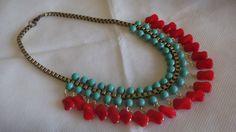 Maxicolar em vidro - turquesa e vermelho