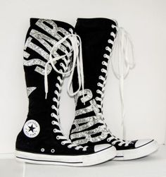 CONVERSE ALL STAR CHUCK TAYLOR XXHI BLACK/Silver Glitter KNEE HIGH W9 M7