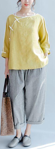yellow linen casual blouse plus size vintage shirts mandarin long sleeve tops