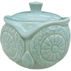 $9.88 w/free shipping, in LIGHT BLUE, but I can paint it (matching accessories are in green &also need painting)Better Homes and Gardens Owl Covered Jar