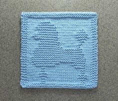 POODLE Knit Dishcloth / Wash Cloth. Hand Knitted 100% Cotton Light Blue, Unique…
