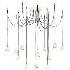 Fredrick Ramond Nula Twelve-Light Adjustable Foyer Chandelier in Shell White, Urban Foyer Chandelier, Chandelier Lighting, Dining Lighting, House Lighting, Contemporary Chandelier, Modern Contemporary, Multi Light Pendant, Mini Pendant, Large Chandeliers