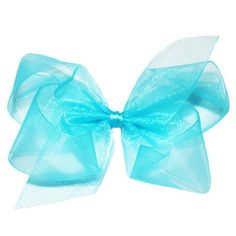 Wee Ones Medium Aqua Organza Bow. Teal organza double looped bow for little girls. See More Hair Bows at http://www.ourgreatshop.com/Hair-Bows-C206.aspx