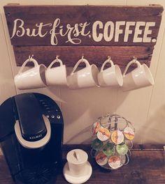 Perfect for my coffee bar! *{[But First Coffee Mug Display by OliveandGrain on Etsy]}* Coffee Mug Display, Coffee Shop, Coffee Bars, Diy Décoration, Diy Crafts, College House, But First Coffee, Home Organization, Pantone