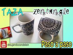 Como dibujar un  Mandala en cerámica o porcelana, taza personalizada Painted Cups, Hand Painted, Mandala Art, Mug Art, Sharpie, Tangled, Decoupage, Doodles, Drawings