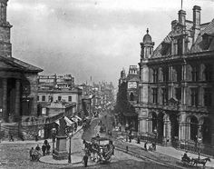 Looking down New Street from the Town Hall, 1895. Christ Church still standing. New post Office building has replaced Corbett's Temperance Hotel on the right.