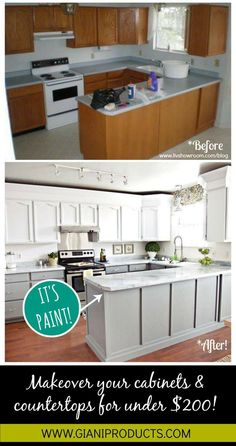 update on a budget! Paint that looks like granite and one-day cabinet makeover.Kitchen update on a budget! Paint that looks like granite and one-day cabinet makeover. Painting Countertops, Cabinets And Countertops, White Cabinets, Paint Kitchen Countertops, Kitchen Backsplash Diy, Diy Counters, Marble Counters, Black Counters, Cheap Countertops
