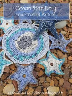 This Ocean Star Doily was inspired by the blue tones of the Nurturing Fiber yarns. Free crochet pattern. Available in English and Afrikaans.