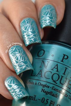 The Lazy Laquerista: Teal And Silver Peony Nail Stamping