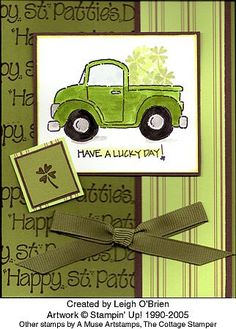Stampin' Up! Loads of Love - shamrocks St Patricks Day Cards, St Paddys Day, Stamping Up Cards, Card Patterns, Masculine Cards, Love Cards, Kids Cards, Creative Cards, Homemade Cards