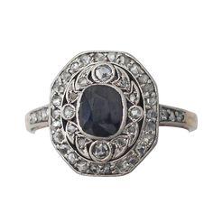 0.70Ct Sapphire & 0.28Ct Diamond, 14k Yellow Gold Dress Ring, Antique Circa 1910