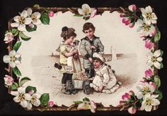 C 1890's Reticulated Children Play at Beach with Doll Victorian Greeting Card | eBay