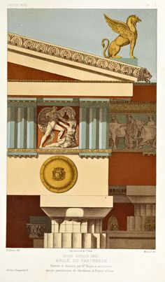 "archimaps: ""A composition on the Doric order of the Parthenon, Athens "" Ancient Greek City, Ancient Rome, Ancient Greece, Ancient Art, Architecture Antique, Ancient Greek Architecture, Architecture Drawings, Greek Buildings, Ancient Buildings"
