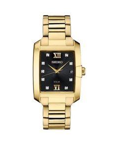 Seiko Men's Men's Gold-Tone Diamond Solar Watch - Gold - One Size Elegant Watches, Beautiful Watches, Gold And Silver Watch, Seiko Gold, Solar Watch, Seiko Men, Mesh Bracelet, Telling Time, Seiko Watches