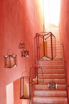 Like ship lanterns of old, these have clear glass walls to shield the candle from summer breezes. Description from decorpad.com. I searched for this on bing.com/images Coral, Ceiling Lights, Lighting, Home Decor, Color Of The Year, Vacations, Dekoration, Projects, Homemade Home Decor