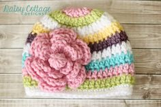 Crochet Baby Hat, Striped Beanie, Girls Hat, Flower Hat Inspiration - no pattern