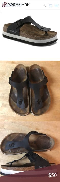 Birkenstock Papillio Gizeh Platform sandals. Worn for about 3 months during the summer. Great quality, still in good shape. Bottom of shoe has almost no wear. Leather black strap with classic Birkenstock footbed. No damage or scuffs on shoes. Size is European 39 but I wear a US 8.5 and they fit perfectly. Birkenstock Shoes Platforms