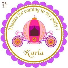 """40 Round Labels 2"""" Personalized Princess Carriage Stickers, Princess Custom Hangtags, Party Favors Labels, Cupcake Toppers, Choice Of Size - Cake and cupcake toppers (*Amazon Partner-Link)"""