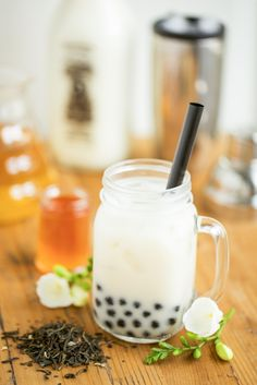 Jasmine Tea Milk Recipe with Honey Boba