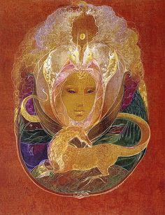 """Feminine Face, Heads of Unicorns and Dragon"" par Susan Seddon Boulet Native American Poems, Feminine Face, Orisha, Fairy Land, Illustrations, Beautiful Creatures, Beautiful Images, Nativity, Beast"