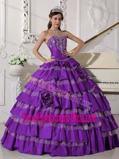 Embroidery Purple Ball Gown Sweetheart 2013 Dress for Quince in Taffeta