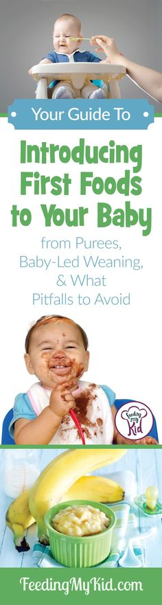 Introducing first foods to baby. Learn About Baby Food Stages Introducing first foods to baby. Learn About Baby Food Stages. Baby Puree, Pureed Food Recipes, Baby Food Recipes, Introducing Baby Food, Introducing Solids, Baby Food By Age, Food Baby, Baby First Foods, Baby Weaning First Foods