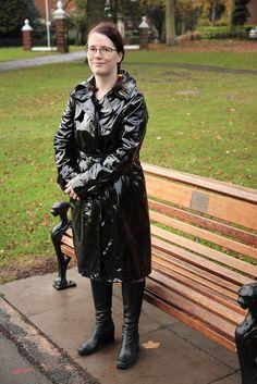 Rainy autumn day. Linda in her new Trinity style coat.