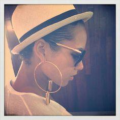 Love the sunglasses, earring and fedora