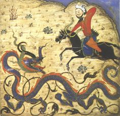 Prince Bahram Slays a Dragon, manuscript illumination of a Timurid (Mongol) soldier from a 1371 copy of the Shahnama.