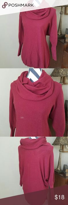 Cowl Neck Sweater Maroon cowl Neck Sweater from between me & you. Very loose fitting high low sweater with fitted 3/4 length cuffs. Very soft and comfortable! 55% cotton, 25% acrylic, 15% nylon, 5% wool This sweater is in excellent condition! between me & you Sweaters Cowl & Turtlenecks