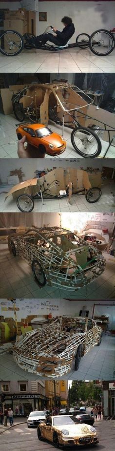 DIY Porche made out of plastic pipes and aluminum foil. Took Austrain artist Hannes Langeder over 10.000 hours to complete.