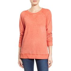 Women's Caslon Burnout Sweatshirt ($49) ❤ liked on Polyvore featuring tops, hoodies, sweatshirts, coral spice, petite, petite sweatshirts, long sweatshirt, caslon tops, burnout sweatshirt and raglan top