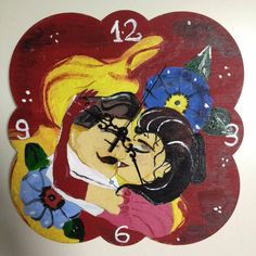 DIY Colorful Beauty and the Beast clock.