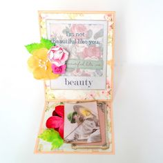 """Beauty Easel Fold Card by Dana Tatar for the Gecko Galz 6th Annual Blog Hop created using the Gecko Galz """"She is so Lovely"""" Collage Sheet, the Gecko Galz Pocket Full of Posies Digital Paper Pack, and the 7 Gypsies Poses and Reflections patterned paper. Stop by for a FREE collage sheet!"""