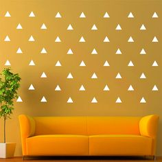 Triangle Removable Wall Vinyl Decal Sticker Wall Decor (White 3' X 2.5' Set of 96) * Don't get left behind, see this great  product : home diy improvement