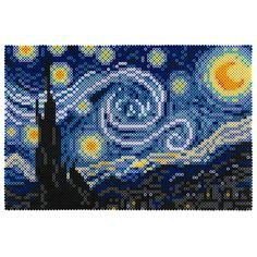 Recreate the art classic Starry Night in Perler Beads! Originally an oil painting by Vincent Van Gogh, this stunning image has been adapted by pixel artist Kyle McCoy. Find this free project at Perler.com.