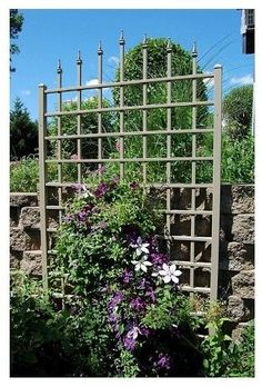 Going vertical in the garden.   Dura-Trel Winchester Trellis - Mocha
