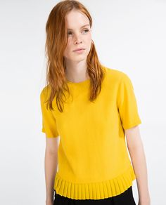 Image result for zara top with pleated hem in yellow