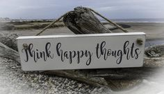 Hand painted solid wood sign wall art. Think happy thoughts