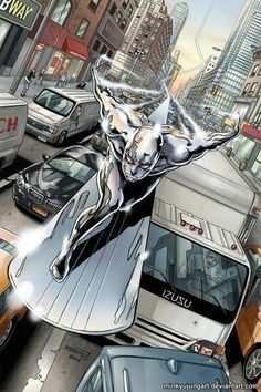 Looks like my favorite scene from Fantastic Four part 2 where Johnny chases the Silver Surfer Art by Minkyu Jung Heros Comics, Marvel Comics Art, Marvel Comic Books, Comic Book Characters, Comic Book Heroes, Marvel Characters, Comic Books Art, Comic Character, Comic Art