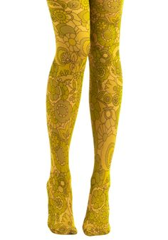 Laugh On Tights by Look From London - Yellow, Floral, Casual, Vintage Inspired, 60s, Spring, Summer