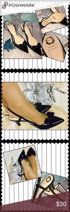 """""""Monet"""" black patent heels designed in Italy. NWOT Monet black patent heels with leather insoles, Sz 8. With 3"""" heels Elastic heel strap. Very elegant dress shoe. NWOT Never worn! Monet Shoes Heels"""