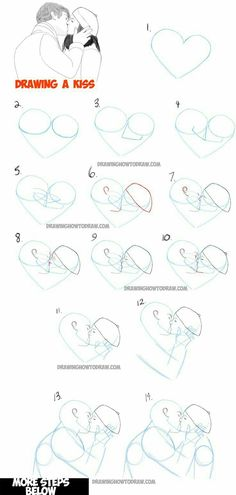 Manga Drawing Techniques Learn How to Draw Romantic Kisses : Kissing Couples - Step by Step Drawing Tutorial 3d Drawing Techniques, Drawing Lessons, Drawing Poses, Drawing Tips, Drawing Tutorials, Art Tutorials, Drawing Sketches, Drawing Ideas, Sketching