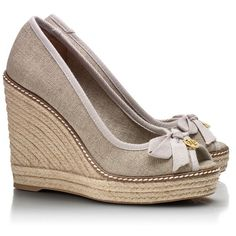 Tory Burch Jackie Wedge Espadrille. In love with these. Neutral shade will go with anything!