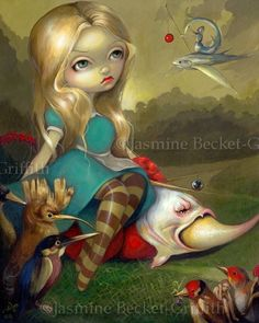 Alice in Wonderland Alice and the Bosch Birds gothic fantasy fairy lowbrow art print by Jasmine Becket-Griffith 8x10