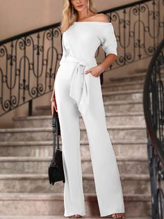 b56968d982 Shop Solid One Shoulder Tied Waist Flared Jumpsuit – Discover sexy women  fashion at Boutiquefeel